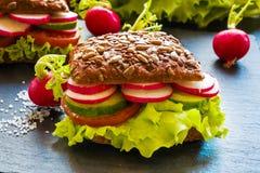 Veggie burgers (green salad, cucumber, tomato, radish). On dark background Royalty Free Stock Photo