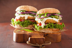 Veggie carrot and oats burger with cucumber onion Royalty Free Stock Image
