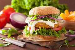 Veggie carrot and oats burger with cucumber onion tomato Stock Images