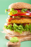 Veggie chickpea and sweetcorn burger with pepper jalapeno onion Royalty Free Stock Images