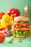 Veggie chickpea and sweetcorn burger with pepper jalapeno onion Royalty Free Stock Image