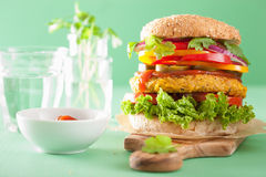 Veggie chickpea and sweetcorn burger with pepper jalapeno onion Stock Photo