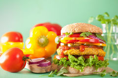 Veggie chickpea and sweetcorn burger with pepper jalapeno onion Stock Photography