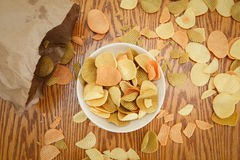 Veggie chips view from above Royalty Free Stock Photos