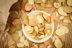 Veggie chips view from above Royalty Free Stock Photo