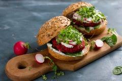 Veggie couscous beet burgers Stock Photos