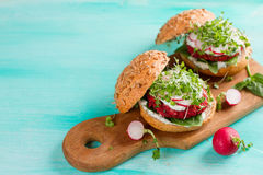 Veggie couscous beet burgers Royalty Free Stock Images