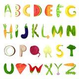 Veggie English alphabet letters made from fresh vegetables vector Illustration on a white background. Veggie English alphabet letters made from fresh vegetables Vector Illustration