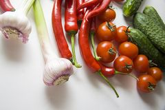 Veggie foods composition Stock Photos