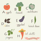 Veggie fruit alphabet. Apple, broccoli, cauliflower, dates, eggplant, french bean, grapes, hot chilli in cartoon style Stock Images