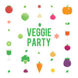 Veggie garden party poster with vegetables icons Stock Photo