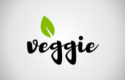 Veggie green leaf handwritten text white background. Veggie text green leaf black white logo vector creative company icon design template color colorful black Royalty Free Stock Photo