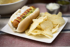 Veggie Hot Dog with Crisps. Veggie hot dog topped with mustard, ketchup, onions and relish, served with potato crisps (chips stock images
