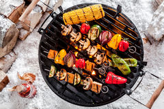 Veggie kebabs grilling on a winter BBQ Stock Photo