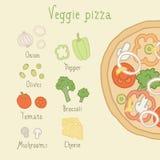Veggie pizza ingredients. Vector EPS 10 hand drawn illustration stock illustration