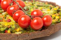 Veggie pizza or pie  with cherry tomato Stock Photo