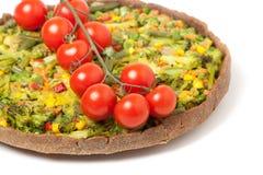 Veggie pizza or pie  with cherry tomato on white Stock Photo