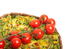 Veggie pizza or pie  with cherry tomato on white Stock Photo
