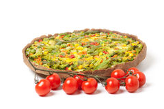 Veggie pizza or pie  with cherry tomato on white Royalty Free Stock Photos