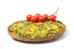 Veggie pizza or pie  with cherry tomato on white Stock Photos