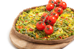 Veggie pizza or pie  with cherry tomato on white Stock Images