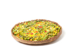 Veggie pizza or pie on white Stock Images