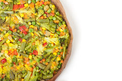 Veggie pizza or pie on white Stock Photography