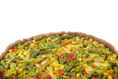 Veggie pizza or pie on white Royalty Free Stock Images