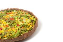 Veggie pizza or pie on white Stock Photo