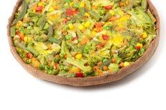 Veggie pizza or pie on white Royalty Free Stock Photo