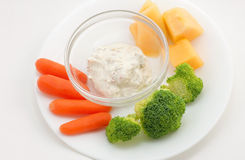 Veggie Plate and Garlic Dip Stock Photos