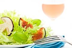 Veggie salad. Fall veggie salad with mushroom, raisin and fig Royalty Free Stock Photos