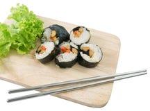 Veggie Sushi Rolls or Vegetable Maki Isolated on White Royalty Free Stock Photo