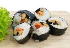 Veggie Sushi Rolls or Vegetable Maki Isolated on White Stock Photos