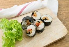 Veggie Sushi Rolls or Vegetable Maki on Wood Tray Royalty Free Stock Photo
