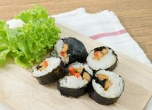 Veggie Sushi Rolls or Vegetable Maki on Wooden Tray Royalty Free Stock Photos