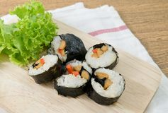 Veggie Sushi Rolls or Vegetable Maki on Wooden Tray Royalty Free Stock Image