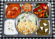 Veggie thali combo. Hot and fresh veggie thali combo in plate for dinner time stock photo