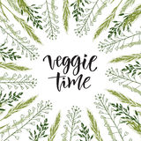 Veggie time lettering. Vector wildflowers frame with hand drawn text Stock Photos