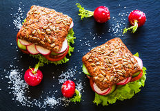 Veggieburger (grüner Salat, Gurke, Tomate, Rettich), Draufsicht stockfotografie