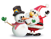 VeggieFruit Snowman and Santa Royalty Free Stock Photography