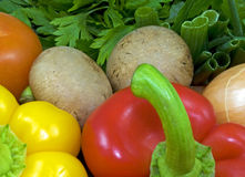 Veggies. Close-up of a small variety of vegetables Royalty Free Stock Image