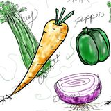 Veggies. A group of four vegetables in a seamless pattern that includes an red onion, green pepper, stalk of celery and a carrot Stock Photos