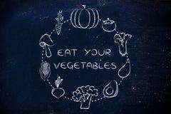 Υγεία και διατροφή: φάτε τα veggies σας Στοκ Εικόνες