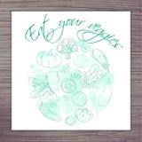 Η διανυσματική συρμένη χέρι αφίσα με τα λαχανικά περιβάλλει και ονομάζει - φάτε τα veggies σας Στοκ Εικόνες