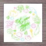 Η διανυσματική συρμένη χέρι αφίσα με τα λαχανικά περιβάλλει και ονομάζει - φάτε τα veggies σας Στοκ Φωτογραφίες