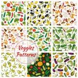 Veggies bezszwowi wzory ustawiający warzywa Obrazy Royalty Free