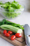 The veggies on the cutting board Royalty Free Stock Images