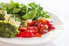 Veggies y plato de pollo Foto de archivo libre de regalías