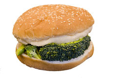 Vegi Burger. Broccoli between a Hamburger Bun stock images
